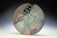"""Dendron"" Cut, sewn copper form, sgraffito, limoges, sifting 7″x7″x7.25″"
