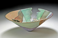 """Less is More"" Cut, riveted, enameled copper vessel form 8″x 3.25″"