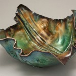 "FF Bowl view 2 Copper, Vitreous Enamel 16"" x 6"" x 3.5"""