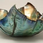 """FF Bowl view 1 Copper, Vitreous Enamel 16"""" x 6"""" x 3.5"""""""