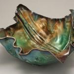 """FF Bowl view 2 Copper, Vitreous Enamel 16"""" x 6"""" x 3.5"""""""